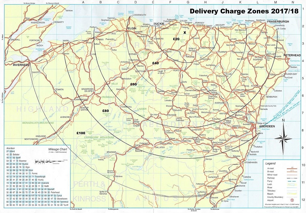 Birkenhill Farm Delivery Charge Zones