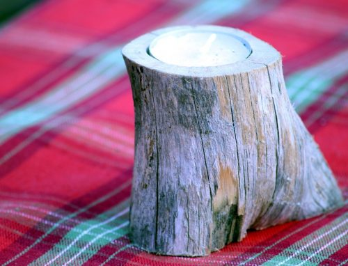 Single Birch Wood candle holder Birkenhill Farm
