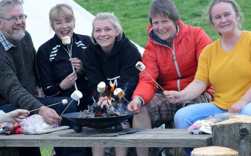 having fun toasting marshmallows