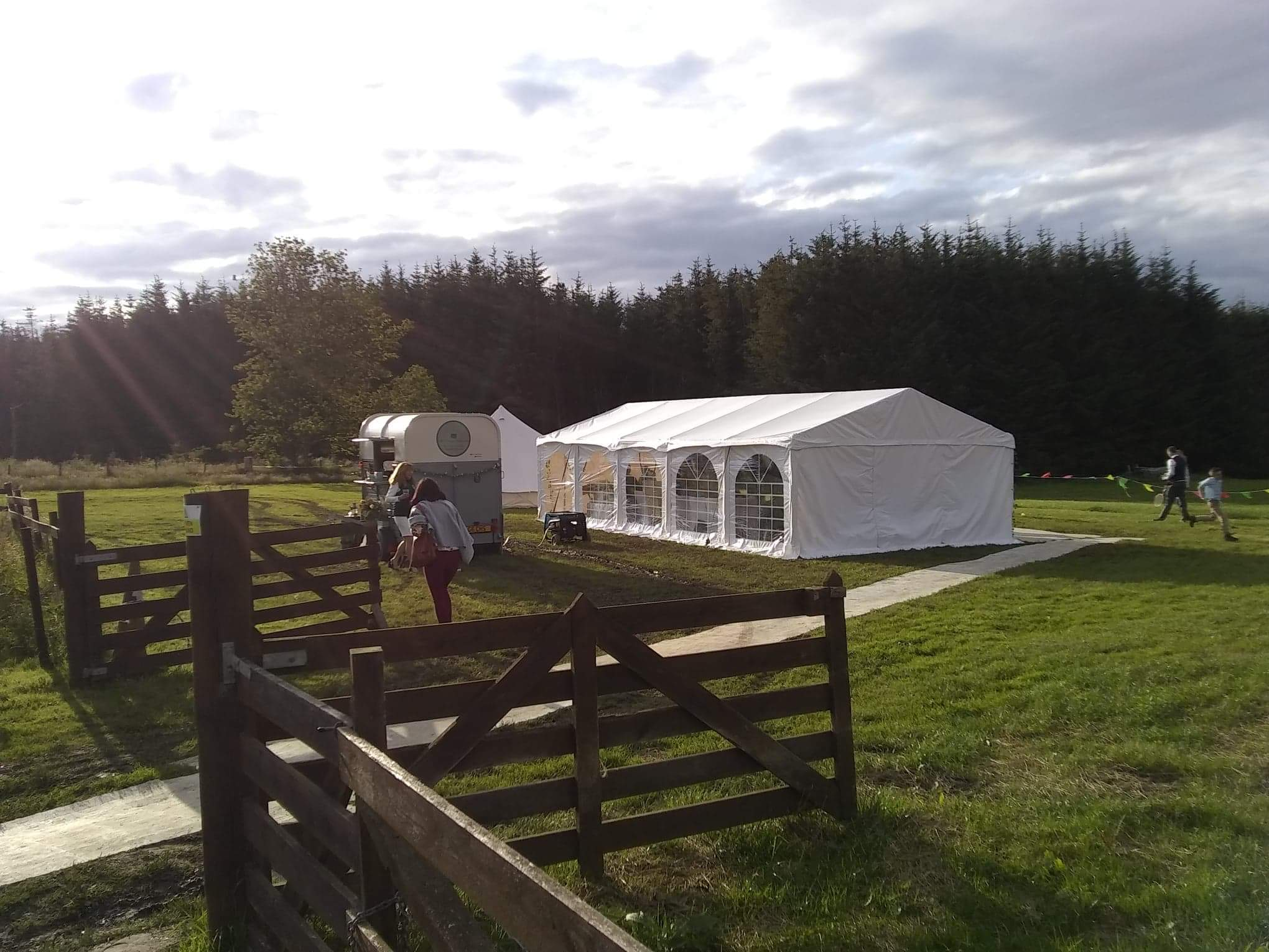 marquee in our field overlooking the Moray Firth