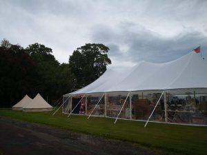 Marquee with clear sides to see the view