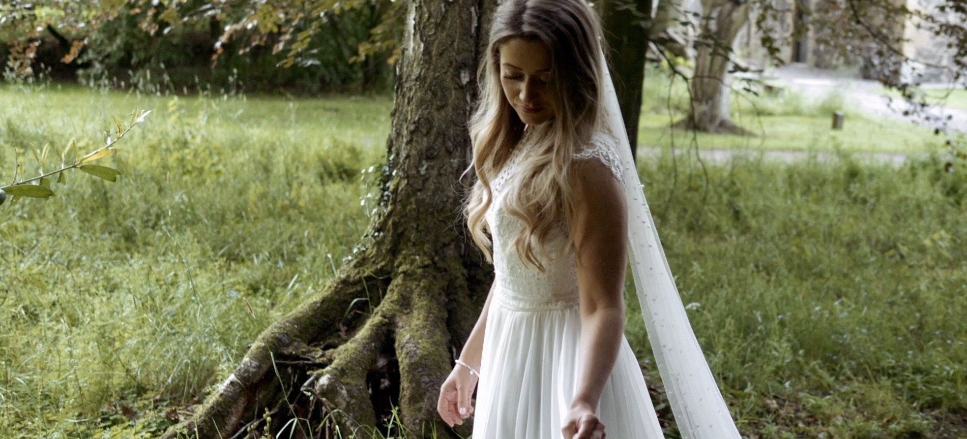 beautiful bride photographed in woodland